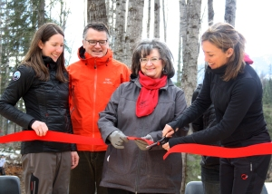 Scott was also in town to support Fernie's cross country skiing efforts — cutting a ribbon alongside the mayor at the opening of the new nordic trails.